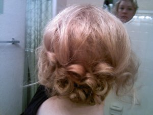 I made three more pincurls from that crown section, securing them into the first line of curls from the back section of hair.