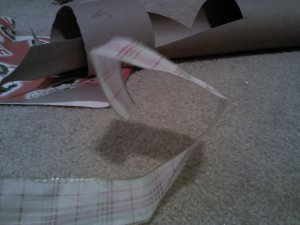Decide how wide you want to go, and make your first fold.  Your next fold will be just about twice as long.  I tried to capture a photo showing both my first and second folds.  Keep folding.