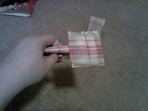 If you fold down the sides of one half, your ribbon should look like this.