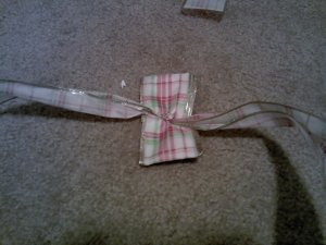 Grab another length of ribbon and tie it so that your knot is right in the middle--that's what your scissor slits were for.