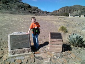 My favorite model and the monuments at Fort Davis.
