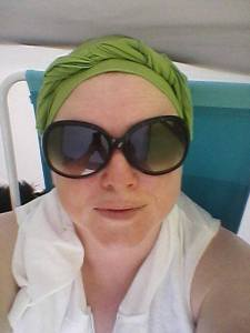 Me getting my Norma Desmond on in my beach chair, in the cabana.  No sunburn + Wicked awesome turban = Great day