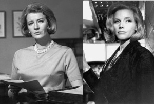 Lois Maxwell as Moneypenny, and Honor Blackman as Pussy Galore in Goldfinger.  My two favorite Bond girls, side by side.