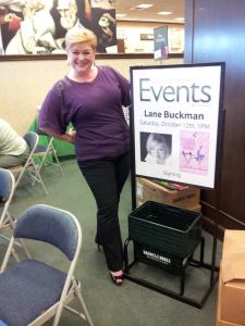 Official B&N sign with my big face on it. Thank you, Linda, for taking these photos.