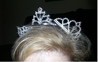 Three of the variety of mini-tiaras I have for give aways at the B&N book signing.  I may or may not have ended up with many, many more on my head at one point.