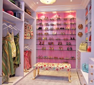 I LOVED the shoe wall.  In Destinee's closet, I gave her a wig wall.  My friend Charlcye used to have a wall of hair, and she was my inspiration for Destinee's wigs.