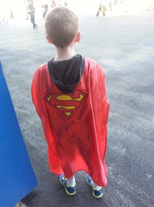 He got a Superman cape, and we went home.