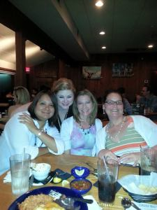 Linda, me, Amy, and Francine.  Our average length of friendship here is 31 years.  If you can still be friends after having known each other in Junior High, that's saying something.  These ladies are special.